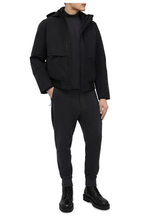 Мужской хлопковая водолазка Y-3 темно-серого цвета, арт. HB3409/M   Фото 2 (Материал внешний: Хлопок; Длина (для топов): Удлиненные; Рукава: Длинные; Мужское Кросс-КТ: Водолазка-одежда; Принт: Без принта; Стили: Спорт-шик)