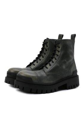 Женские кожаные ботинки strike BALENCIAGA хаки цвета, арт. 670632/WBCP1 | Фото 1 (Материал внутренний: Натуральная кожа; Подошва: Массивная; Женское Кросс-КТ: Военные ботинки)