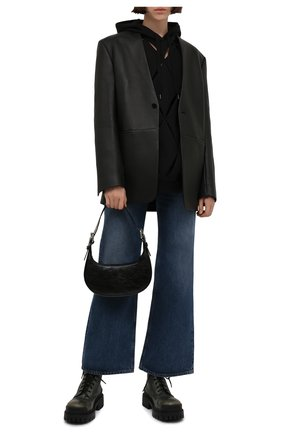 Женские кожаные ботинки strike BALENCIAGA хаки цвета, арт. 670632/WBCP1 | Фото 2 (Материал внутренний: Натуральная кожа; Подошва: Массивная; Женское Кросс-КТ: Военные ботинки)