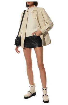 Женские кожаные ботинки roman stud VALENTINO кремвого цвета, арт. WW0S0DC9/FYP | Фото 2 (Материал внутренний: Натуральная кожа; Каблук тип: Устойчивый; Женское Кросс-КТ: Челси-ботинки)