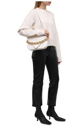 Женский пуловер из шерсти и кашемира JIL SANDER кремвого цвета, арт. JSWT754314-WTY21098   Фото 2 (Рукава: Длинные; Материал внешний: Шерсть; Длина (для топов): Стандартные; Стили: Минимализм; Женское Кросс-КТ: Пуловер-одежда)