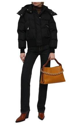 Женская утепленная куртка ALEXANDER MCQUEEN черного цвета, арт. 672752/QZAD1 | Фото 2 (Материал внешний: Синтетический материал; Материал подклада: Синтетический материал; Стили: Спорт-шик; Длина (верхняя одежда): Короткие; Рукава: Длинные; Кросс-КТ: Куртка)