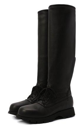 Женские кожаные сапоги JIL SANDER черного цвета, арт. JS37265A-14172   Фото 1 (Материал внутренний: Натуральная кожа; Подошва: Платформа; Высота голенища: Высокие; Каблук высота: Низкий; Каблук тип: Устойчивый)