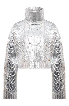 Женский свитер BALMAIN серебряного цвета, арт. WF0KI000/K313 | Фото 1 (Рукава: Длинные; Длина (для топов): Укороченные; Материал внешний: Шерсть, Лиоцелл; Стили: Гламурный; Женское Кросс-КТ: Свитер-одежда)