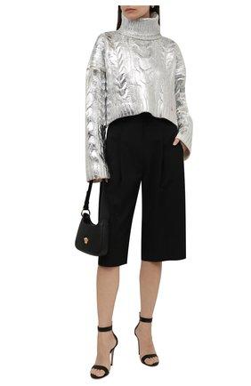 Женский свитер BALMAIN серебряного цвета, арт. WF0KI000/K313 | Фото 2 (Рукава: Длинные; Длина (для топов): Укороченные; Материал внешний: Шерсть, Лиоцелл; Стили: Гламурный; Женское Кросс-КТ: Свитер-одежда)