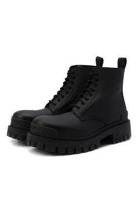 Мужские кожаные ботинки strike BALENCIAGA черного цвета, арт. 600911/WBB00 | Фото 1 (Каблук высота: Высокий; Материал внутренний: Натуральная кожа; Подошва: Массивная; Мужское Кросс-КТ: Ботинки-обувь, Байкеры-обувь)