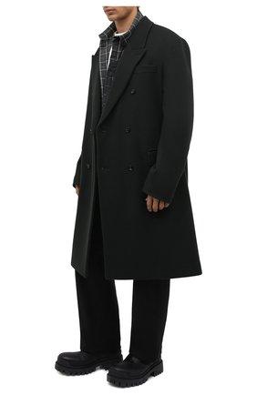 Мужские кожаные ботинки strike BALENCIAGA черного цвета, арт. 600911/WBB00 | Фото 2 (Каблук высота: Высокий; Материал внутренний: Натуральная кожа; Подошва: Массивная; Мужское Кросс-КТ: Ботинки-обувь, Байкеры-обувь)