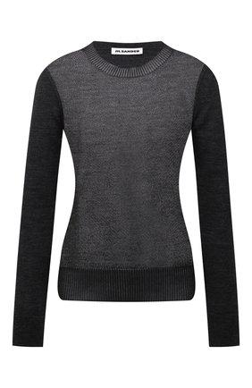 Женский пуловер из шерсти и шелка JIL SANDER черного цвета, арт. JSWT754312-WTY21088   Фото 1 (Рукава: Длинные; Длина (для топов): Стандартные; Материал внешний: Шерсть; Стили: Минимализм; Женское Кросс-КТ: Пуловер-одежда)