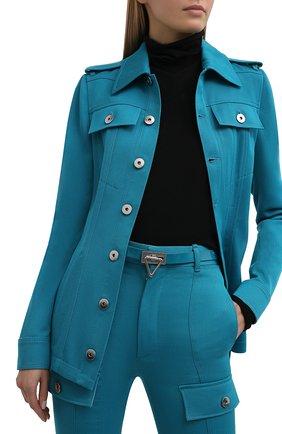 Женский кожаный ремень BOTTEGA VENETA бирюзового цвета, арт. 685802/V1C31 | Фото 2 (Кросс-КТ: Тонкие)