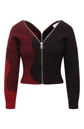 Женский шерстяной кардиган ALEXANDER MCQUEEN бордового цвета, арт. 680811/Q1AXN | Фото 1 (Рукава: 3/4; Длина (для топов): Стандартные; Материал внешний: Шерсть; Женское Кросс-КТ: Кардиган-одежда; Стили: Гранж)