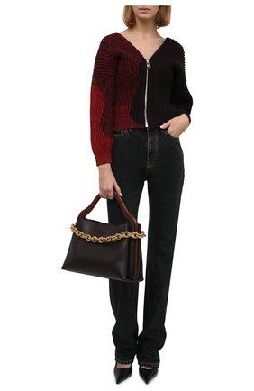 Женский шерстяной кардиган ALEXANDER MCQUEEN бордового цвета, арт. 680811/Q1AXN | Фото 2 (Рукава: 3/4; Длина (для топов): Стандартные; Материал внешний: Шерсть; Женское Кросс-КТ: Кардиган-одежда; Стили: Гранж)