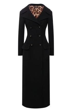 Женское шерстяное пальто DOLCE & GABBANA черного цвета, арт. F0AR3T/FU2NX | Фото 1 (Материал подклада: Синтетический материал; Длина (верхняя одежда): Длинные; Материал внешний: Шерсть; Рукава: Длинные; 1-2-бортные: Двубортные; Стили: Классический)
