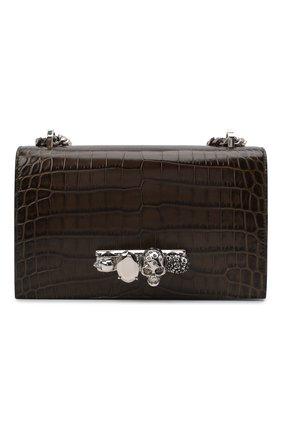 Женская сумка jewelled satchel ALEXANDER MCQUEEN хаки цвета, арт. 554128/1HB02 | Фото 1 (Материал: Натуральная кожа; Сумки-технические: Сумки через плечо; Размер: small; Ремень/цепочка: На ремешке)