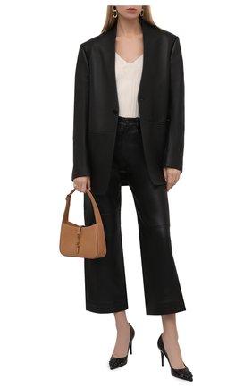Женские кожаные туфли rockstud alcove VALENTINO черного цвета, арт. WW0S0DF8/IDE | Фото 2 (Материал внутренний: Натуральная кожа; Каблук высота: Высокий; Подошва: Плоская; Каблук тип: Шпилька)