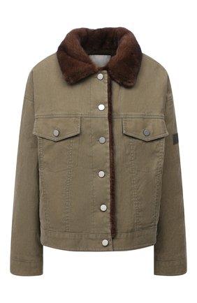 Джинсовая куртка с отделкой из меха норки | Фото №1