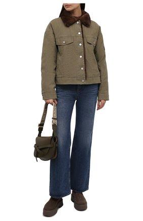Джинсовая куртка с отделкой из меха норки | Фото №2
