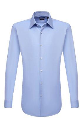 Мужская хлопковая сорочка BOSS голубого цвета, арт. 50461148   Фото 1 (Длина (для топов): Стандартные; Материал внешний: Хлопок; Рукава: Длинные; Случай: Формальный; Манжеты: На пуговицах; Рубашки М: Slim Fit; Стили: Классический; Принт: Однотонные; Воротник: Кент)