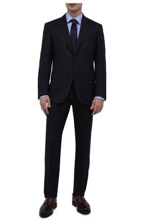 Мужская хлопковая сорочка BOSS голубого цвета, арт. 50461148   Фото 2 (Длина (для топов): Стандартные; Материал внешний: Хлопок; Рукава: Длинные; Случай: Формальный; Манжеты: На пуговицах; Рубашки М: Slim Fit; Стили: Классический; Принт: Однотонные; Воротник: Кент)