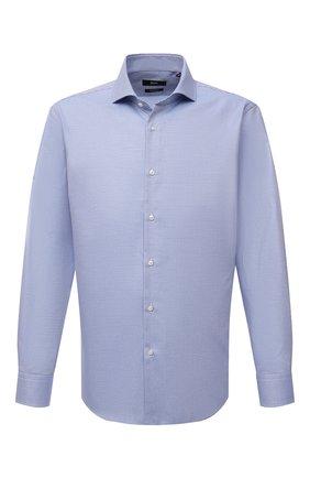 Мужская хлопковая сорочка BOSS голубого цвета, арт. 50464296   Фото 1 (Длина (для топов): Стандартные; Материал внешний: Хлопок; Рукава: Длинные; Воротник: Акула; Случай: Формальный; Манжеты: На пуговицах; Рубашки М: Regular Fit; Стили: Классический; Принт: Клетка)