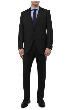 Мужская хлопковая сорочка BOSS голубого цвета, арт. 50464296   Фото 2 (Длина (для топов): Стандартные; Материал внешний: Хлопок; Рукава: Длинные; Воротник: Акула; Случай: Формальный; Манжеты: На пуговицах; Рубашки М: Regular Fit; Стили: Классический; Принт: Клетка)