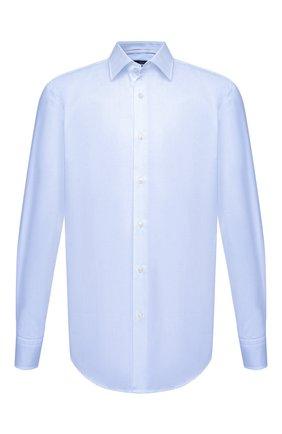 Мужская хлопковая сорочка BOSS голубого цвета, арт. 50464549   Фото 1 (Материал внешний: Хлопок; Воротник: Кент; Случай: Формальный; Манжеты: На пуговицах; Рубашки М: Regular Fit; Рукава: Длинные; Длина (для топов): Стандартные; Стили: Классический; Принт: Однотонные)