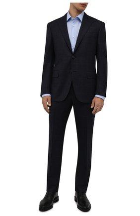 Мужская хлопковая сорочка BOSS голубого цвета, арт. 50464549   Фото 2 (Материал внешний: Хлопок; Воротник: Кент; Случай: Формальный; Манжеты: На пуговицах; Рубашки М: Regular Fit; Рукава: Длинные; Длина (для топов): Стандартные; Стили: Классический; Принт: Однотонные)