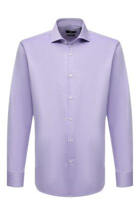 Мужская хлопковая сорочка BOSS сиреневого цвета, арт. 50464315   Фото 1 (Материал внешний: Хлопок; Длина (для топов): Стандартные; Рукава: Длинные; Воротник: Акула; Случай: Формальный; Манжеты: На пуговицах; Рубашки М: Regular Fit; Стили: Классический; Принт: Однотонные)