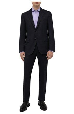 Мужская хлопковая сорочка BOSS сиреневого цвета, арт. 50464315   Фото 2 (Материал внешний: Хлопок; Длина (для топов): Стандартные; Рукава: Длинные; Воротник: Акула; Случай: Формальный; Манжеты: На пуговицах; Рубашки М: Regular Fit; Стили: Классический; Принт: Однотонные)