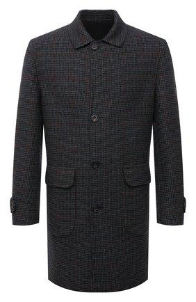 Мужской двустороннее пальто CORNELIANI темно-серого цвета, арт. 8812W0-1820172/00   Фото 1 (Длина (верхняя одежда): До середины бедра; Рукава: Длинные; Материал внешний: Шерсть; Мужское Кросс-КТ: пальто-верхняя одежда; Стили: Кэжуэл)