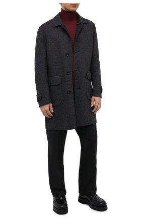 Мужской двустороннее пальто CORNELIANI темно-серого цвета, арт. 8812W0-1820172/00   Фото 2 (Длина (верхняя одежда): До середины бедра; Рукава: Длинные; Материал внешний: Шерсть; Мужское Кросс-КТ: пальто-верхняя одежда; Стили: Кэжуэл)