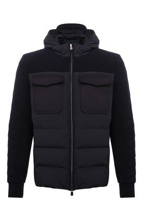 Мужская комбинированная куртка CORNELIANI темно-синего цвета, арт. 88LM60-1820164/00   Фото 1 (Материал подклада: Синтетический материал; Материал внешний: Синтетический материал; Рукава: Длинные; Длина (верхняя одежда): Короткие; Материал утеплителя: Пух и перо; Кросс-КТ: Куртка; Мужское Кросс-КТ: пуховик-короткий; Стили: Кэжуэл)