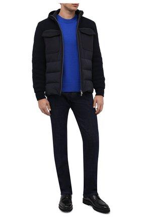 Мужская комбинированная куртка CORNELIANI темно-синего цвета, арт. 88LM60-1820164/00   Фото 2 (Материал подклада: Синтетический материал; Материал внешний: Синтетический материал; Рукава: Длинные; Длина (верхняя одежда): Короткие; Материал утеплителя: Пух и перо; Кросс-КТ: Куртка; Мужское Кросс-КТ: пуховик-короткий; Стили: Кэжуэл)