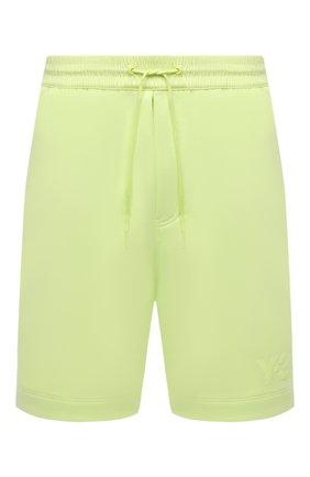 Мужские хлопковые шорты Y-3 салатового цвета, арт. HB3379/M | Фото 1 (Материал внешний: Хлопок; Длина Шорты М: Ниже колена; Кросс-КТ: Трикотаж, Спорт; Принт: Без принта; Стили: Спорт-шик)
