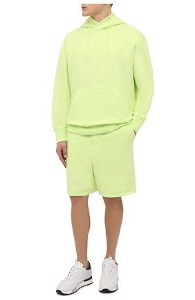 Мужские хлопковые шорты Y-3 салатового цвета, арт. HB3379/M | Фото 2 (Материал внешний: Хлопок; Длина Шорты М: Ниже колена; Кросс-КТ: Трикотаж, Спорт; Принт: Без принта; Стили: Спорт-шик)