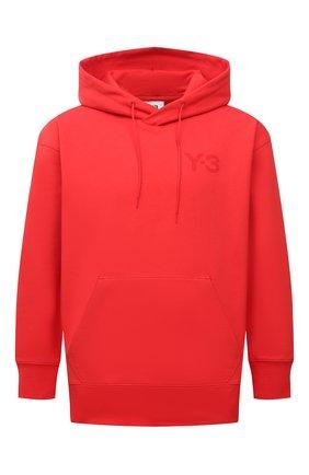 Мужской хлопковое худи Y-3 красного цвета, арт. HB3447/M   Фото 1 (Материал внешний: Хлопок; Длина (для топов): Стандартные; Рукава: Длинные; Мужское Кросс-КТ: Худи-одежда; Принт: Без принта; Стили: Спорт-шик)