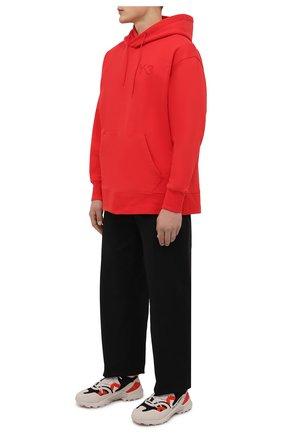 Мужской хлопковое худи Y-3 красного цвета, арт. HB3447/M   Фото 2 (Материал внешний: Хлопок; Длина (для топов): Стандартные; Рукава: Длинные; Мужское Кросс-КТ: Худи-одежда; Принт: Без принта; Стили: Спорт-шик)