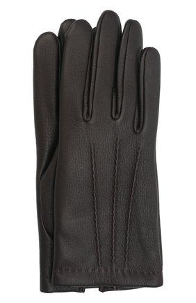 Мужские кожаные перчатки lupin AGNELLE темно-коричневого цвета, арт. LUPIN | Фото 1 (Мужское Кросс-КТ: Кожа и замша)
