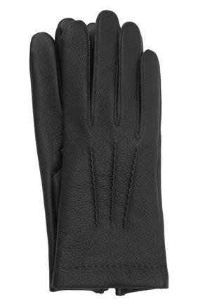 Мужские кожаные перчатки loic deer AGNELLE черного цвета, арт. L0ICDEER/C100 | Фото 1 (Мужское Кросс-КТ: Кожа и замша)