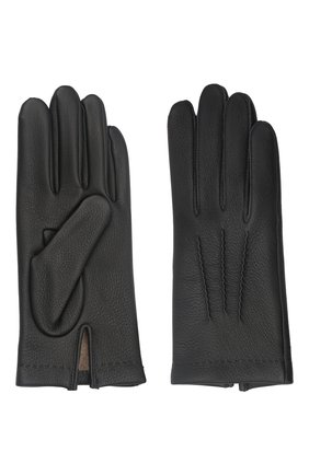 Мужские кожаные перчатки loic deer AGNELLE черного цвета, арт. L0ICDEER/C100 | Фото 2 (Мужское Кросс-КТ: Кожа и замша)