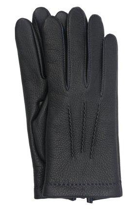 Мужские кожаные перчатки loic deer AGNELLE темно-синего цвета, арт. L0ICDEER/C100 | Фото 1 (Мужское Кросс-КТ: Кожа и замша)