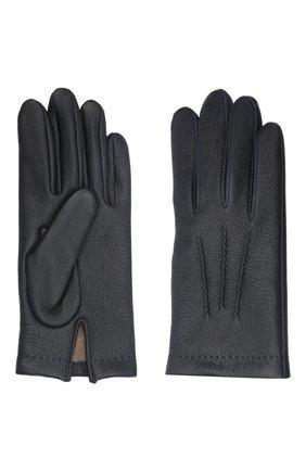 Мужские кожаные перчатки loic deer AGNELLE темно-синего цвета, арт. L0ICDEER/C100 | Фото 2 (Мужское Кросс-КТ: Кожа и замша)