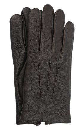 Мужские кожаные перчатки loic deer AGNELLE темно-коричневого цвета, арт. L0ICDEER/C100 | Фото 1 (Мужское Кросс-КТ: Кожа и замша)