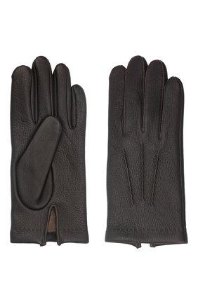 Мужские кожаные перчатки loic deer AGNELLE темно-коричневого цвета, арт. L0ICDEER/C100 | Фото 2 (Мужское Кросс-КТ: Кожа и замша)