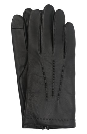 Мужские кожаные перчатки loic AGNELLE черного цвета, арт. L0IC/C100 | Фото 1 (Мужское Кросс-КТ: Кожа и замша)