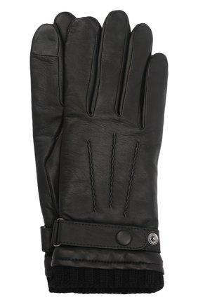 Мужские кожаные перчатки georges AGNELLE черного цвета, арт. GE0RGES | Фото 1 (Мужское Кросс-КТ: Кожа и замша)