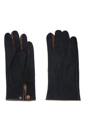 Мужские замшевые перчатки david AGNELLE темно-синего цвета, арт. DAVID | Фото 2 (Мужское Кросс-КТ: Кожа и замша; Материал: Замша)