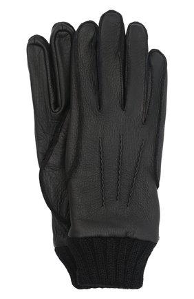 Мужские кожаные перчатки aston AGNELLE черного цвета, арт. AST0N | Фото 1 (Мужское Кросс-КТ: Кожа и замша)