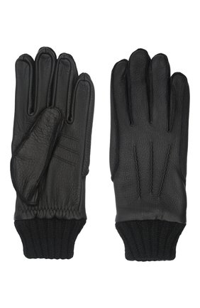 Мужские кожаные перчатки aston AGNELLE черного цвета, арт. AST0N | Фото 2 (Мужское Кросс-КТ: Кожа и замша)