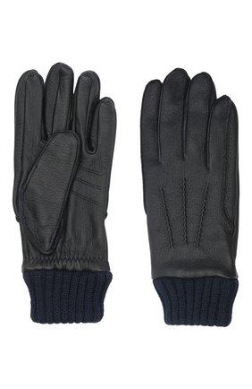 Мужские кожаные перчатки aston AGNELLE темно-синего цвета, арт. AST0N | Фото 2 (Мужское Кросс-КТ: Кожа и замша)