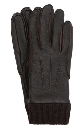Мужские кожаные перчатки aston AGNELLE темно-коричневого цвета, арт. AST0N | Фото 1 (Мужское Кросс-КТ: Кожа и замша)